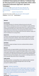 New publication from our group : Combined Nasoseptal and Inferior Turbinate Flap for Reconstruction of Large Skull Base Defect After Expanded Endonasal Approach: Operative Technique